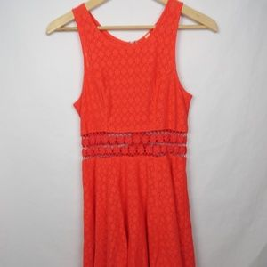Free People Dress Fitted Daisy Cut Out Orange